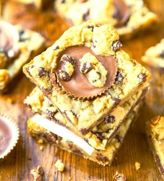 Two-Ingredient Peanut Butter Cup Chocolate Chip Cookie Dough Bars