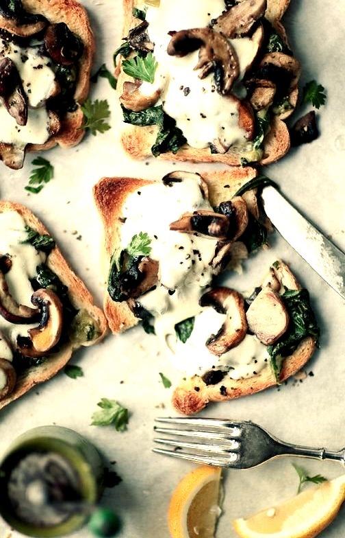 mozzarella & mushroom toast