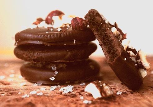 Semi-Sweet And White-Chocolate Crisps With Hazelnuts