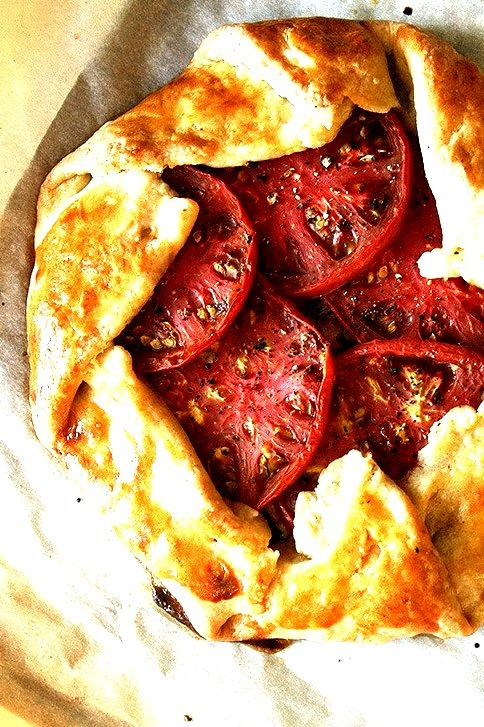 Tomato, Corn and Cheese Galette with Fresh Basil