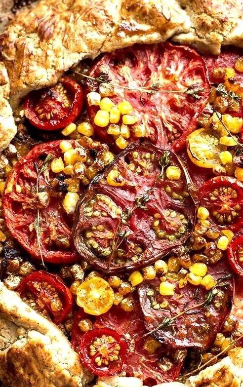 Caramelized Corn and Heirloom Tomato Galette with Herbed Roasted Garlic Goat Cheese