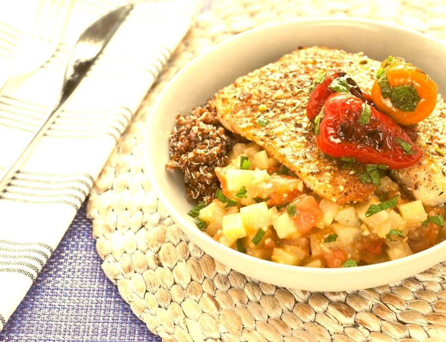 Dukkah-Dusted Tilapia with Eggplant Sofrito and Blistered Peppers