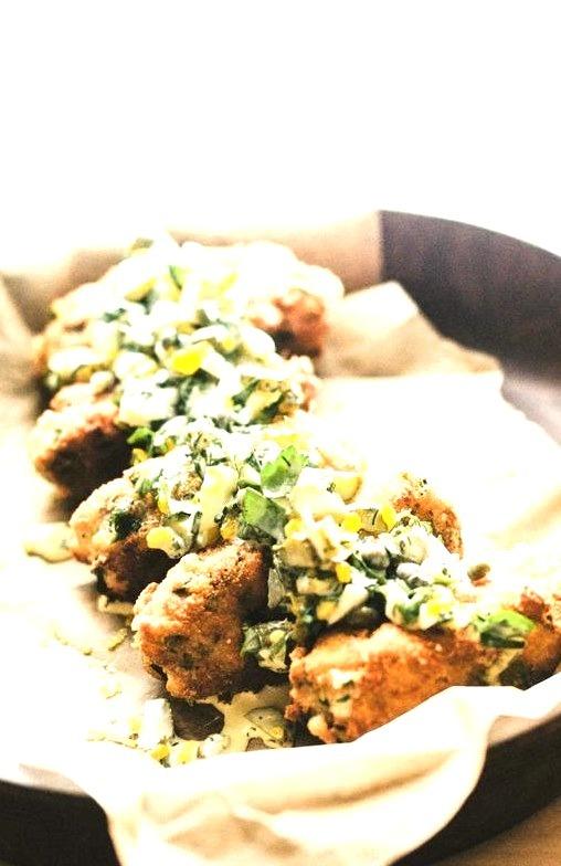 sardine croquette and sauce gribiche.