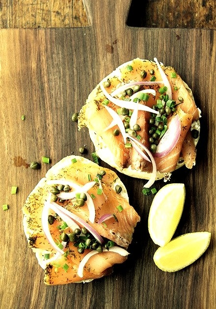 Bialy with Cream Cheese, Gravlax, Capers, Onions and Lemon
