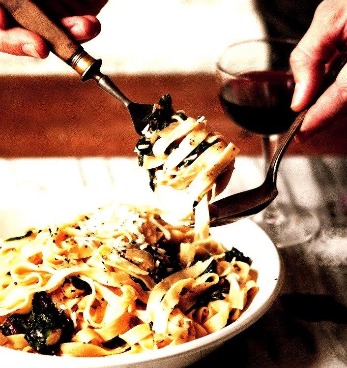 Fettuccine w/Caramelized Onions & Swiss Chard A Better Happier St Sebastian