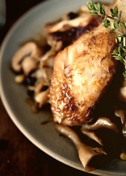 Braised Chicken With Mushrooms, Pine Nuts + Dried CurrantsSource