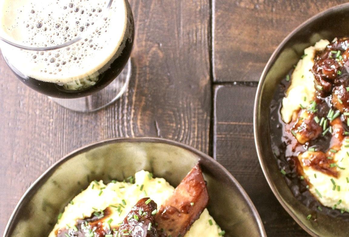 Honeyed Stout-Braised Short Ribs with Wasabi Mashed Potatoes