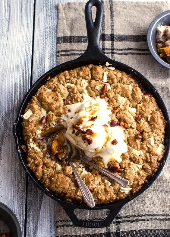 Caramelized Peach and Whole Wheat White Chocolate Oatmeal Skillet Cookie Pie