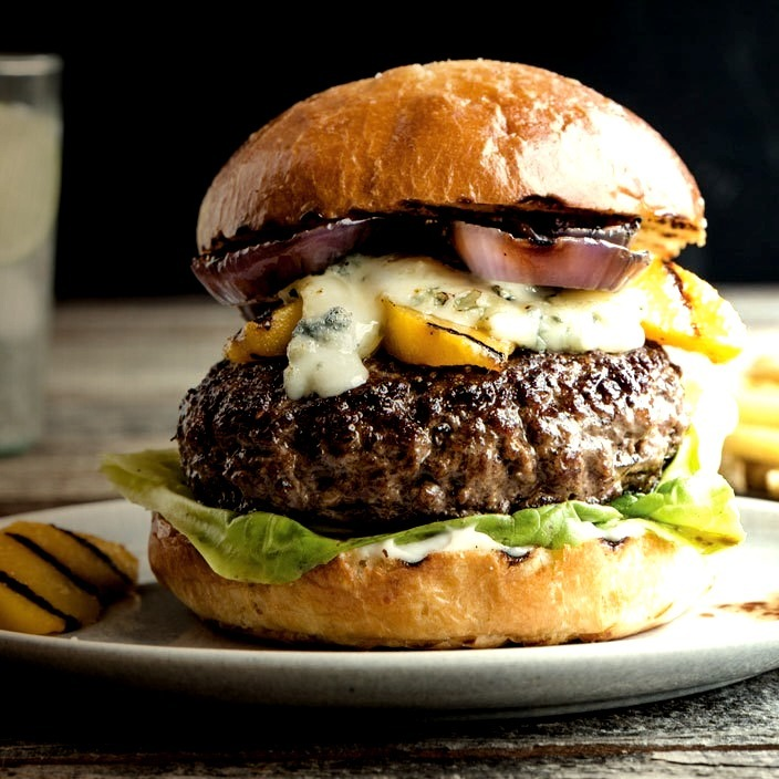 Gorgonzola-Stuffed Burgers with Grilled Nectarines