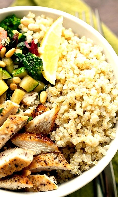 Chicken & Toasted Quinoa Bowls with Garlic-Sauteed Veggies and Pine Nuts The Cozy Apron